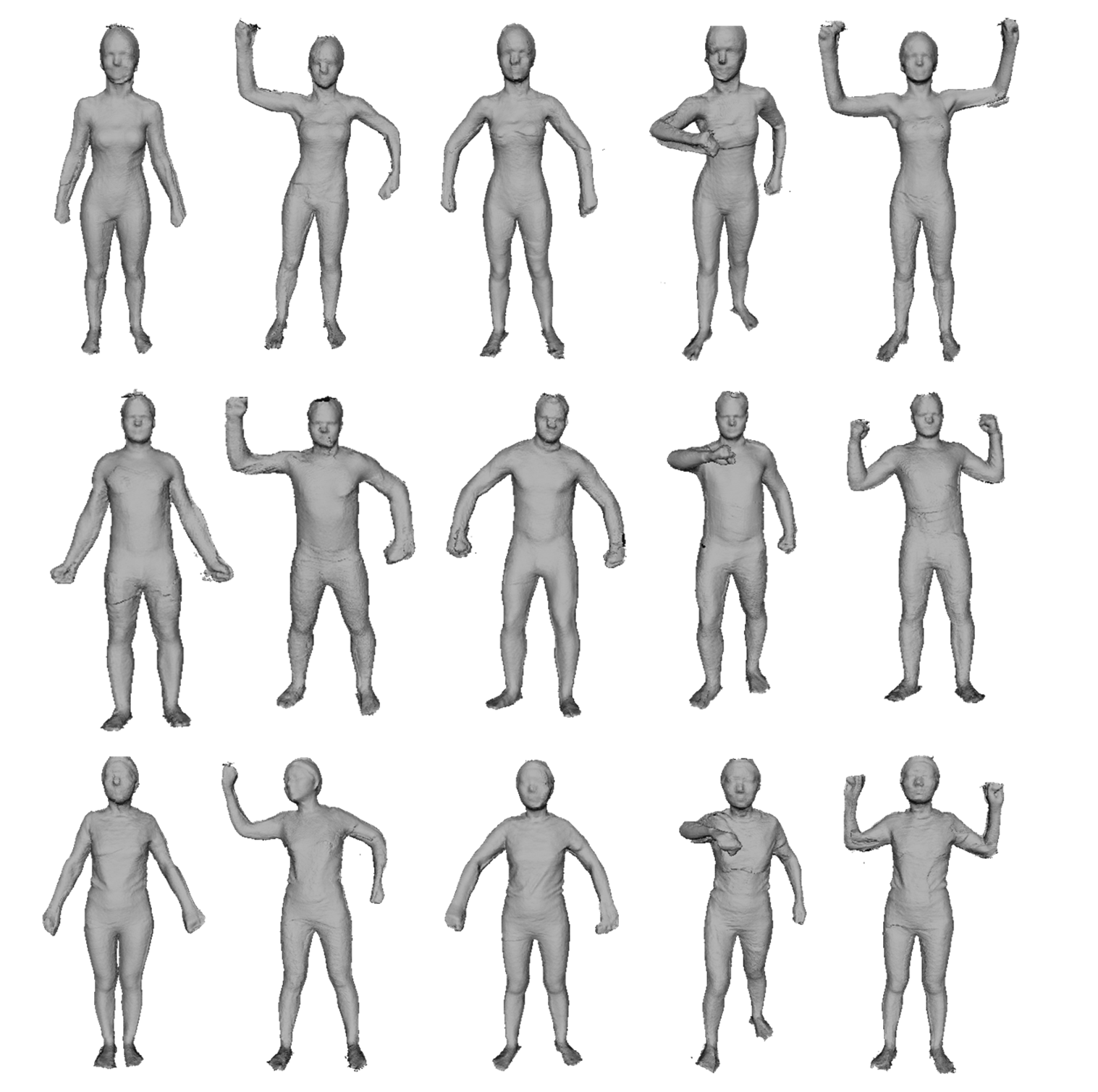 K3D-hub: Low quality 3D human body dataset scanned with